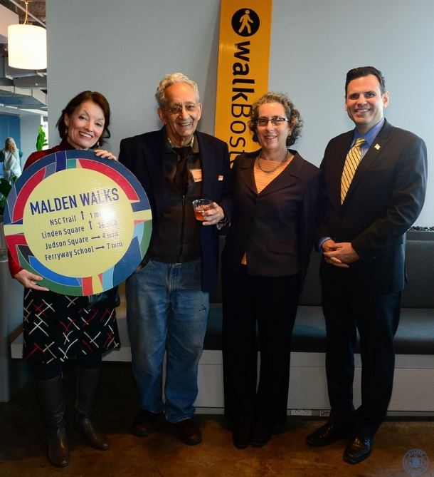 From left: Sharon Santillo, artist/Malden activist;  Frank Stella; Wendy Landman, WalkBoston Executive Director; and Gary Christenson, Mayor of Malden. Photo by Paul Hammersley