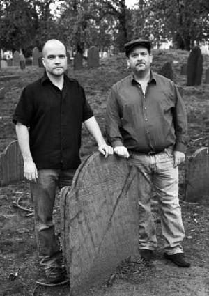 Michael Baker and Scott Trainito from Para-Boston at Bell Rock Cemetery in Malden.