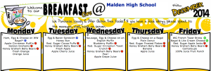 Some of the breakfast varieties that are served every morning at the Malden High School cafeteria. Photo courtesy of Whitson Company Website.