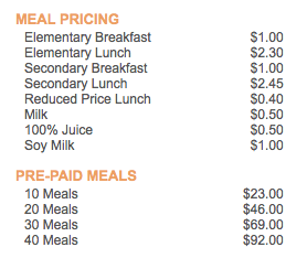 The prices of the breakfast and lunches. Photo courtesy of Whitson Company Website.