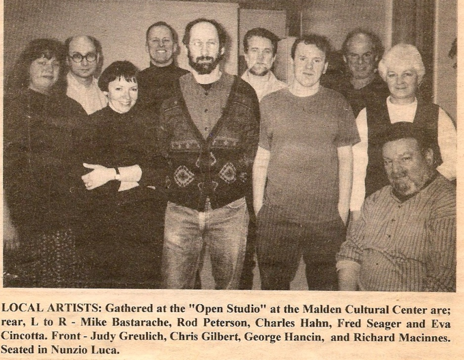 Early photo of Malden Sketch Group 1997, Advocate newspaper.