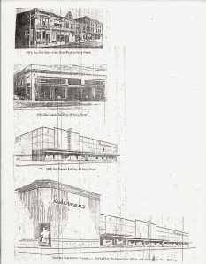 Images of Ruderman's throughout the years.  Obtained from a late-1960's press release.  The text for each reads, from top to bottom: 1914, Our First Store in the Shute Block on Ferry Street 1924, Our Second Building, 42 Ferry Street 1958, Our Present Building, 42 Ferry Street Our New Expansion in Progress ... Taking Over the Former Post Office and Joining the Two Buildings