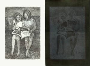 Stephanie Mahan Stigliano Two Girls Reading, Absence and Presence Copperplate Etching with addition of Sumi ink