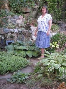 Stephanie Mahan Stigliano in her backyard