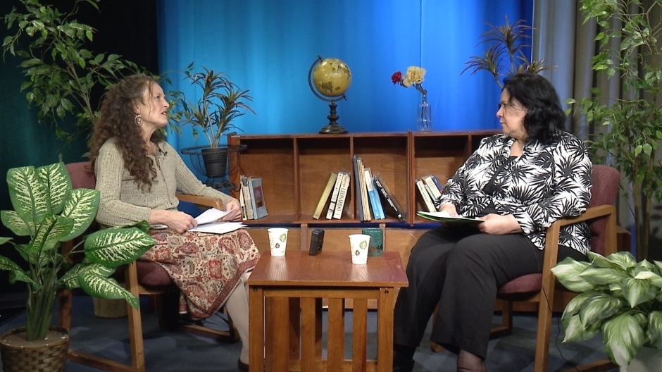 "Ose Schwab (left), producer host of the new multi-media program ""Inside Malden"" interviews her first local guest, Souad Akib, of the American Association of Arab Women."