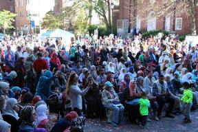 Crowds fill Malden City Hall Plaza for the New England Muslim Festival