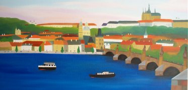 "Miranda Vitello, ""The Old Castle."" Oil on canvas, 12 x 24"