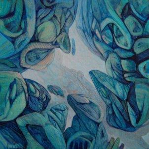 "Heather Adels, ""Sherpa."" Acrylic paint on panel, 8 x 8"