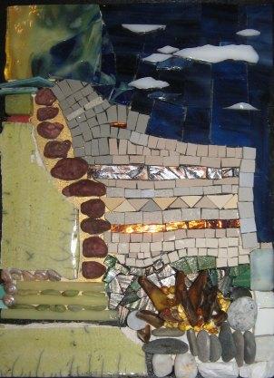 "Lori Manfra, ""The Fall."" Mosaic, 12 x 9"