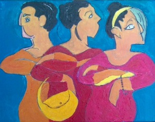"""Lisa Tiemann, """"Les Demoiselles de l'Exhibition."""" Acrylic, 11 x 17"""
