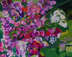 """Yvonne Troxell-Lamothe, """"In the Garden."""" Oil on panel, 18 x 22"""