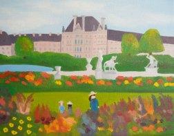 """Miranda Vitello, """"Tuileries."""" Oil on canvas, 11 x 14"""
