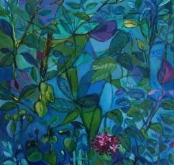 "Sara Gravante, ""Peering Between."" Acrylic on clay panel, 12 x 12"