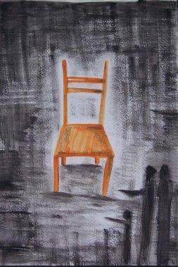 "Samia Omran, ""Lost."" Pencil, watercolor, 18 x 14"