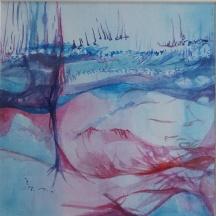 "Sara Gravante, ""The Journey."" Watercolor and acrylic ink, 11 x 11"