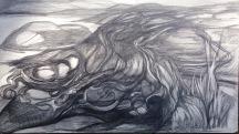 "Susan Langan, ""The Vigil."" Graphite, 17 x 25"
