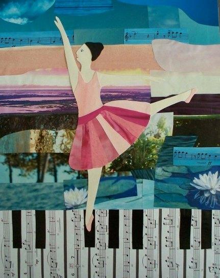 """Miranda Vitello, """"Piano Promenade."""" Mixed media, 14 x 11"""