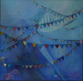 """Sara Gravante, """"The Morning Market."""" Acrylic on canvas, 16 x 16"""