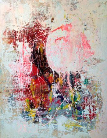 "Sirarpi Heghinian-Walzer, ""Dialogue with Nature II."" Mixed media on burlap, 32 x 40"
