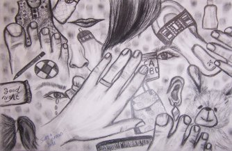 "Samia Omran, ""Death."" Pencil, 18 x 16"