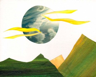 "Jen Moulton, ""Mountains 12."" Mixed media collage, 11 x 14"