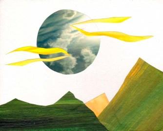 """Jen Moulton, """"Mountains 12."""" Mixed media collage, 11 x 14"""