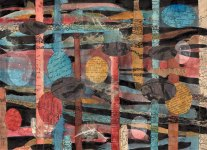 "Stephanie Stigliano, ""A Little Hut on Hen's Legs."" Watercolor collage, 8 x 10"