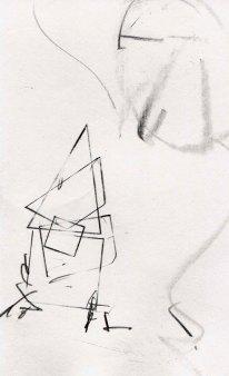 """Joe Burgio, """"Baba Yaga."""" Pencil, 3 x 5"""