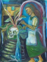 "Lisa L. Sears, ""Renewal."" Watercolor, acrylic, wax pastels, 30 x 22"