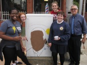 Teacher, Martin Boyle with students from L:  Kedisha Clerger, Chiara Kinnon, Talia Mamayek, Jackie Brandano  -Photo Elizabeth Scorsello