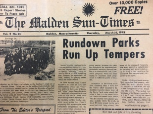 It seems back in 1973, the issue of Malden's public park system was who would maintain it. How do you think it fares today?