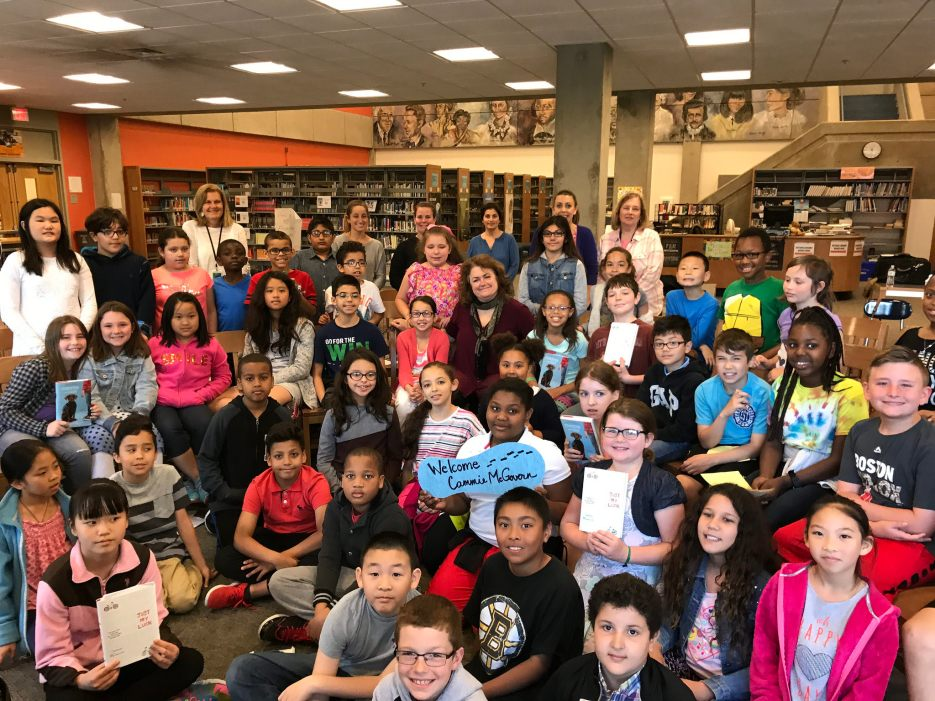 An excited group of students welcomes author Cammie McGovern. (Photo by Jodie Zalk)
