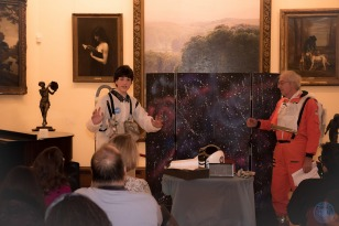 "Liam Schwab and Ron Cox perform a skit based on the Year 6 book ""The Martian"" and companion book ""Cosmic."""