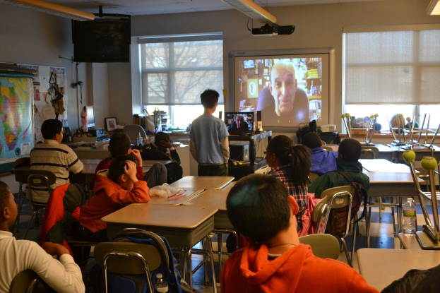 Students at the Ferryway School skype with companion book author, Joseph Bruchac in Year 3 of the program.