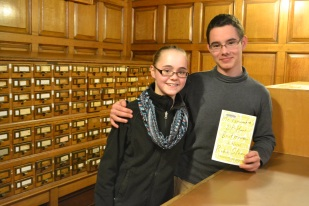 Sunny and Rowan Marcus pose with the 2015 book selection.