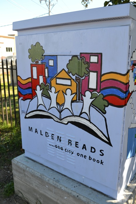 The Malden Reads switchbox is on the corner of Route 60 (Eastern Ave.) and Route 99 (Broadway)