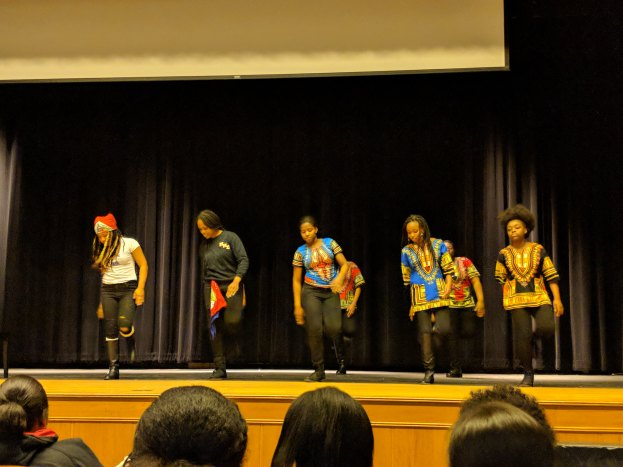 The Malden High School Step Team performs