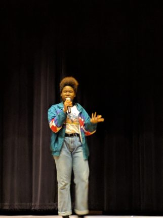 "Tobi Pitan performs a comedy routine based on her personal connection to the story in ""The Hate U Give"""