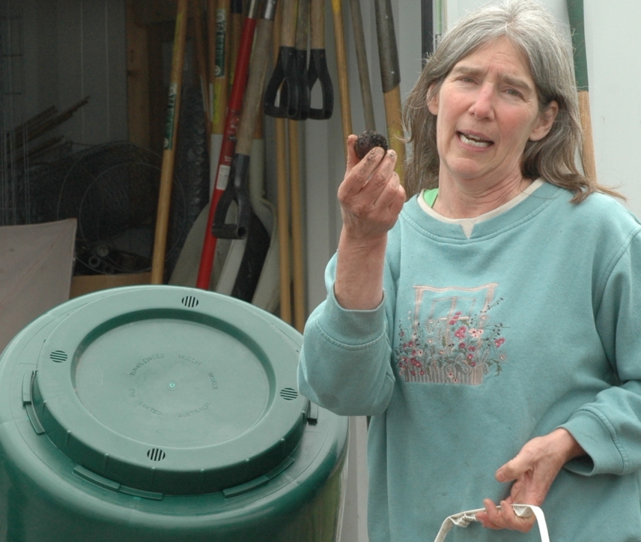 Karen Buck explains some of the fine points of composting.