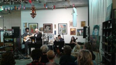 """""""Astronauts of Albania"""" concert (featuring Albanian folk jazz) at The Gallery in May, 2018."""