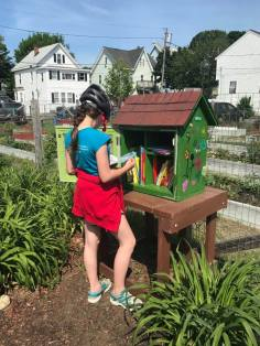 Cordelia Tierno inspects the Little Library!