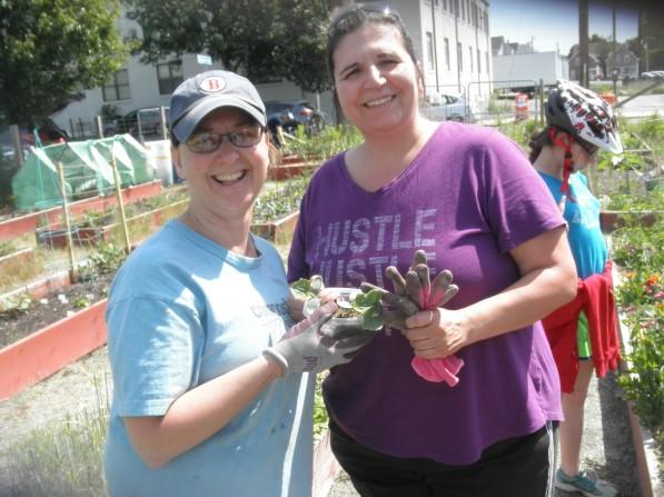 Julie Mangan and friend talk plants.