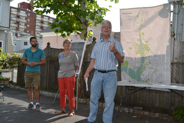 "Phillip Bronder-Giroux talks about the Malden River at a ""River Awareness"" BBQ on August 19."