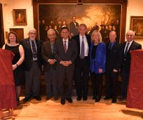 (From left: Library Director Dora St. Martin, Library Trustee President John Tramondozzi, Frank Stella, Mayor Gary Christenson, U.S. Rep. Ed Markey, Dr. Susan Blumenthal, Michael Nutall, John Giso. (Photo by Paul Hammersley, 3MG)