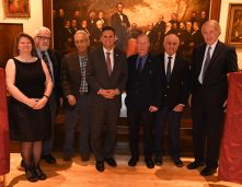 From left: Library Director Dora St. Martin, Frank Stella, Mayor Gary Christenson, Michael Nutall, John Giso, U.S. Rep. Ed Markey. (Photo by Paul Hammersley, 3MG)