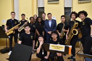 The Mayor with members of the Malden High School Jazz Band. Photo by Diana Jeong