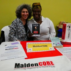 Susan Lawrence and Erga Pierrette from MaldenCORE (Community Organizing for Racial Equity). Photo by Susan Margot Ecker
